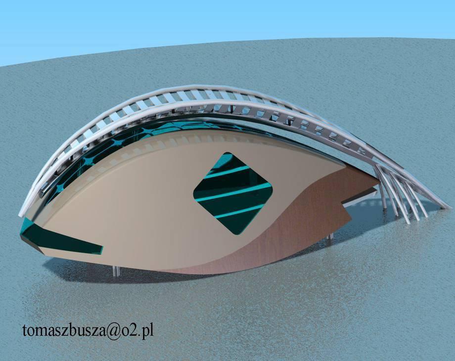 futurystyczny dom na wodzie
