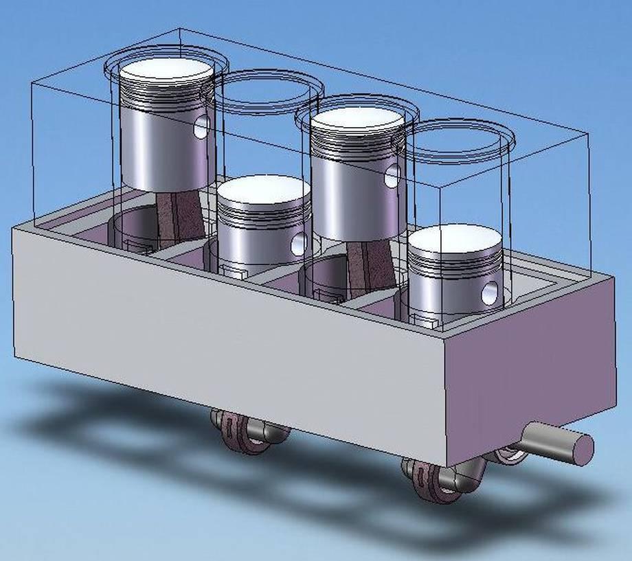 W modelu chodziło mi głównie o stworzenie symulacji ruchu tłoków.. Dlatego też model jest bardzo mało uszczegółowiony..