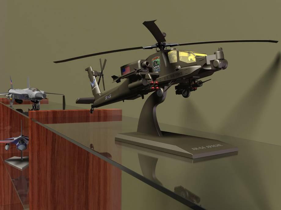 Rendering modelu helikoptera bojowego.