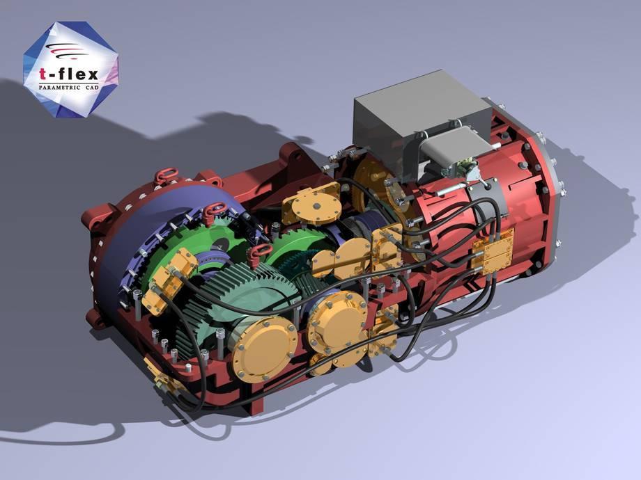 Model silnika wykonany w systemie T-Flex CAD