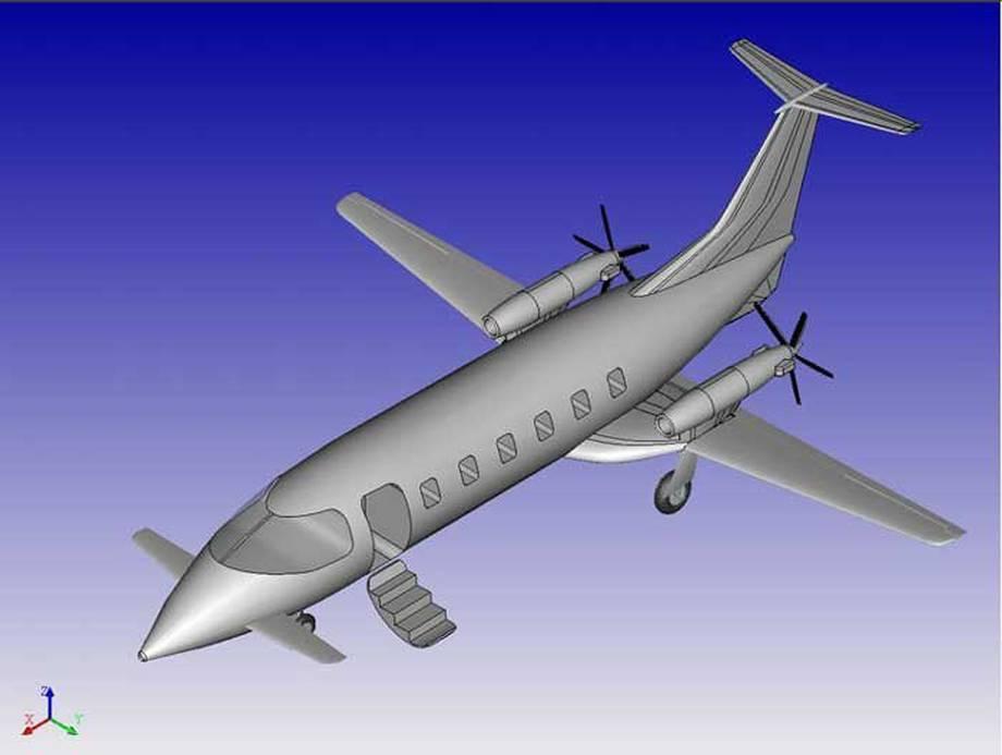 Projekt zewnętrznej części poszycia samolotu w T-Flex CAD.