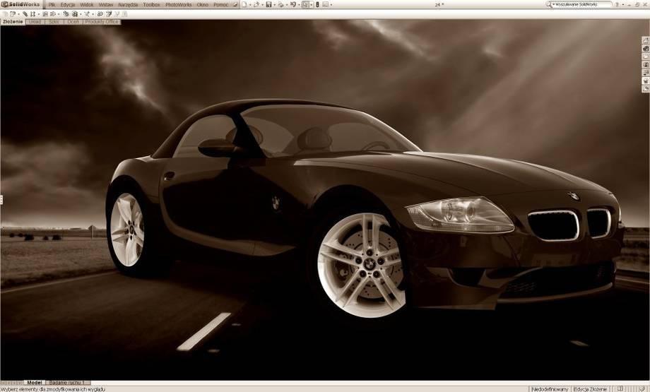 Model oraz rendering samochodu sportowego