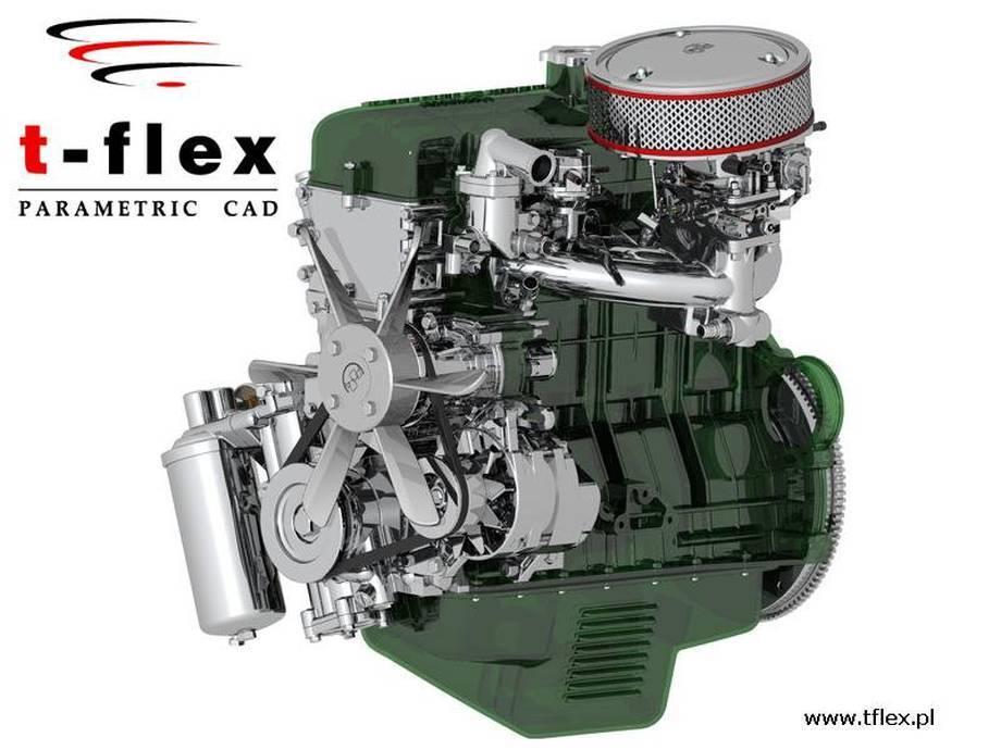 Projekt silnika spalinowego wykonany w sytemie T-Flex CAD (nagroda publiczności w konkursie na projekt 2008 r.)