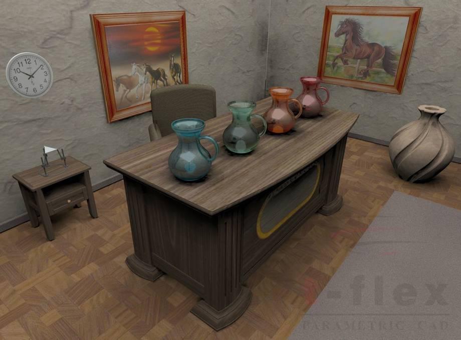 Aranżacja pokoju/biura wykonana w T-Flex CAD