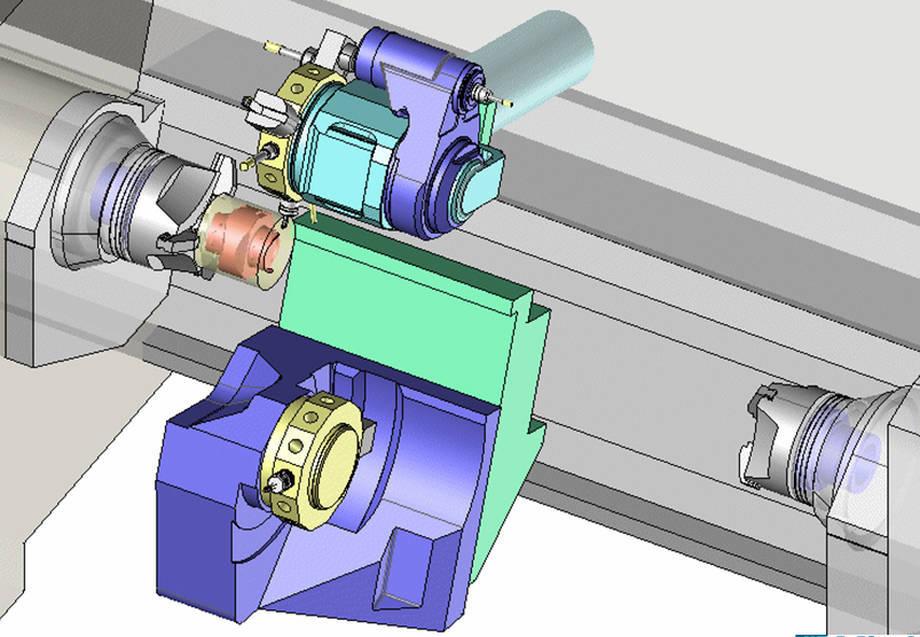 Pełen kinematyczny model maszyny służący jako podstawa do tworzenia procesu technologicznego w TopSolid CAM.