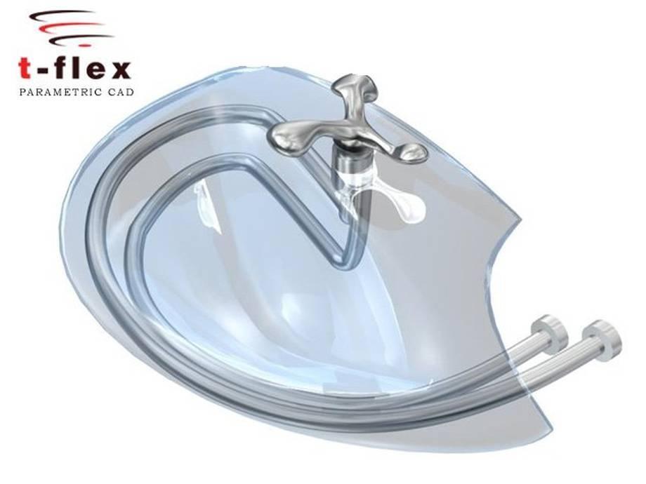 Projekt umywalki wykonany w systemie T-=Flex CAD.