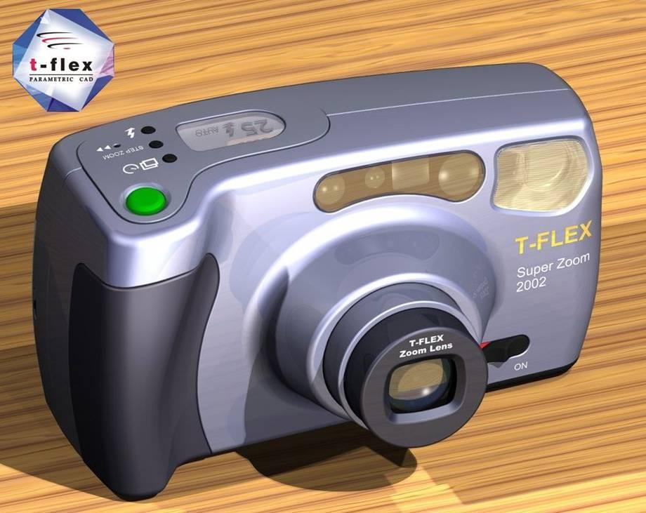 Projekt aparatu fotograficznego w T-Flex CAD.
