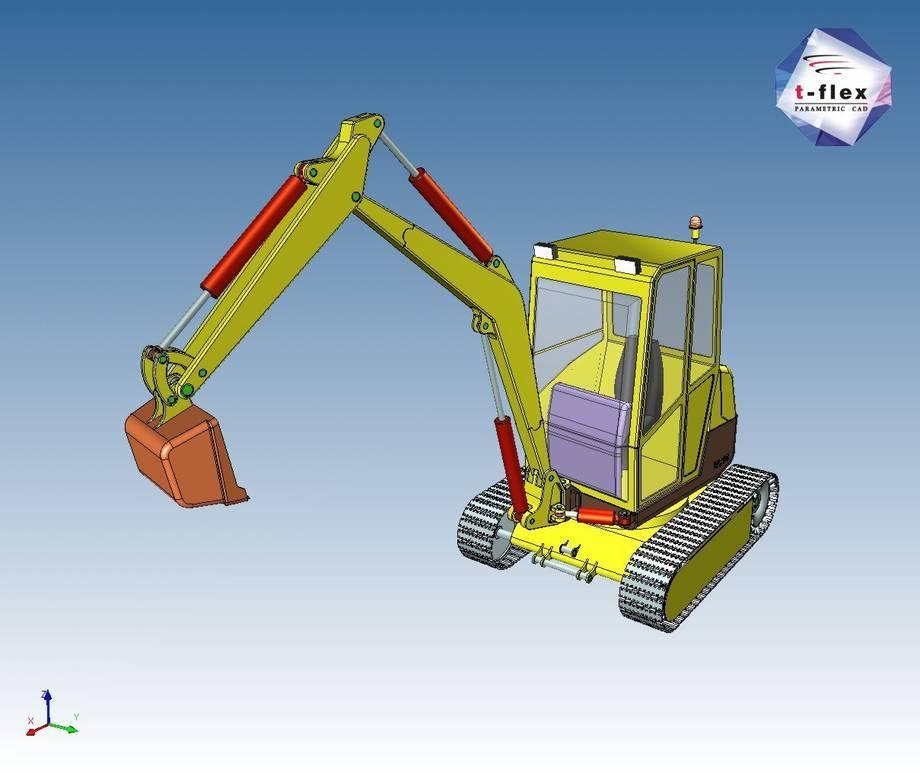 Projekt koparki wykonany w systemie T-Flex CAD.