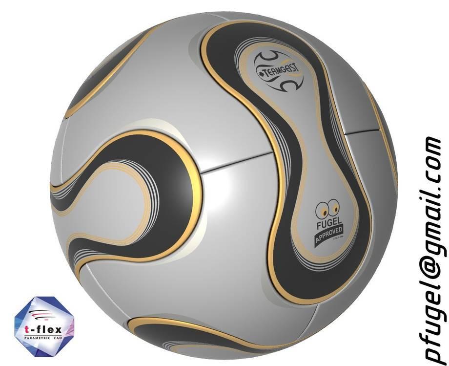 Piłka wykonana w systemie T-Flex CAD przez studenta Politechnki Lubelskiej Piotra Fugel (http://pfugel.lua.pl).