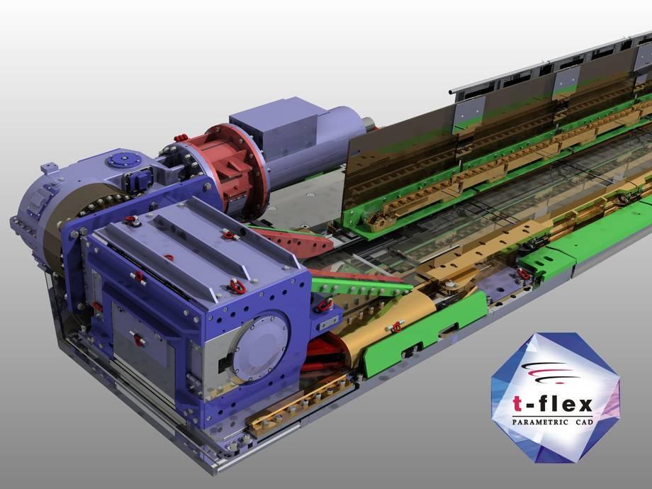 Projekt przenośnika wykonany w T-Flex CAD