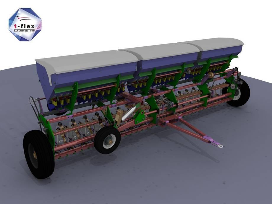 Maszyna rolnicza służąca do obsiewania wykonana w systemie T-Flex CAD