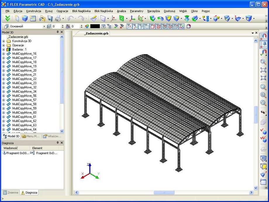 Projekt parametrycznego zadaszenia wykonany w systemie T-Flex CAD.