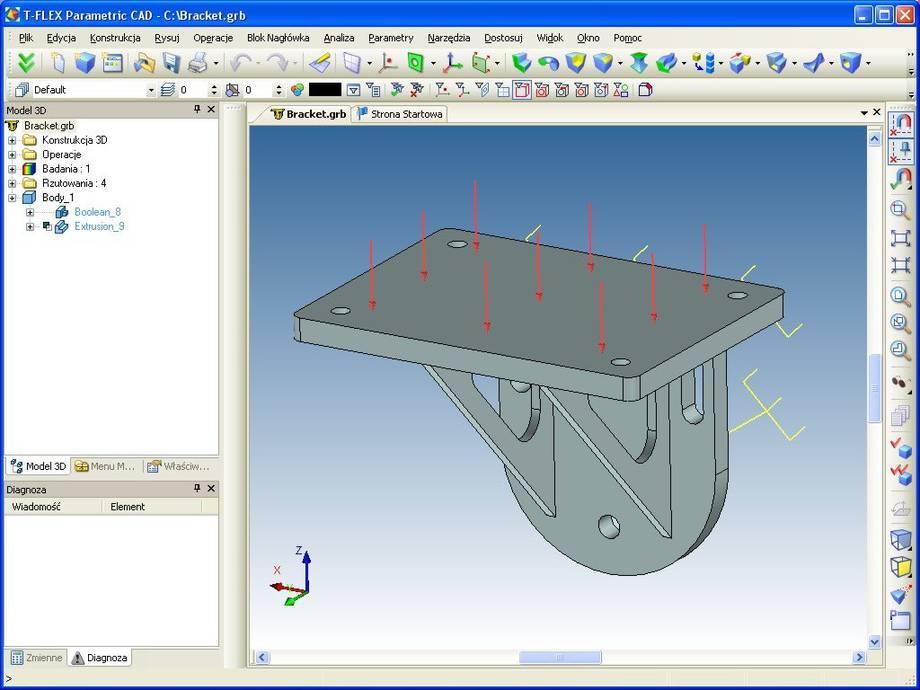 Projekt podpory na której dokonano analizy MES w T-Flex CAD (widok ograniczeń).